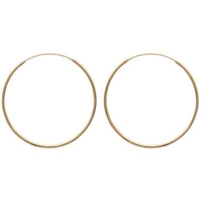 Anneau créoles 50 mm en plaqué or, fil 1,5 mm pour femme, Lido