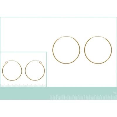 Boucles d'oreilles créoles 50 mm en plaqué or, fil 1,5 mm, Lido
