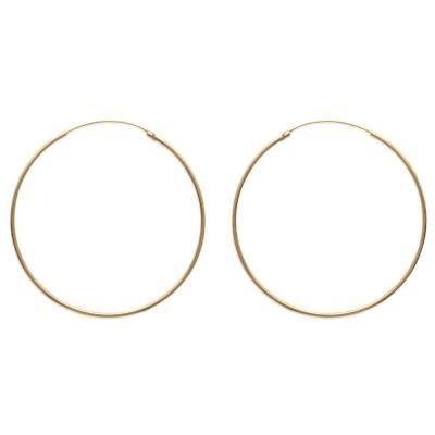 Anneau créoles 60 mm en plaqué or, fil 1,5 mm pour femme, Lido