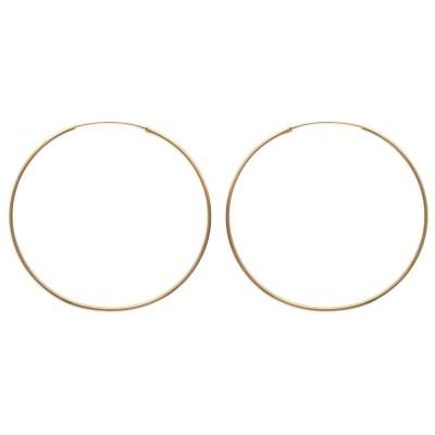 Anneau créoles 70 mm en plaqué or, fil 1,5 mm pour femme, Lido