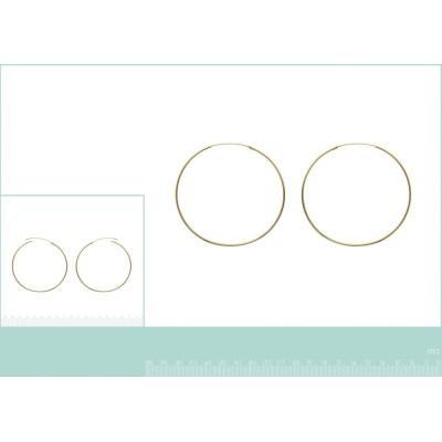 Boucles d'oreilles créoles 70 mm en plaqué or, fil 1,5 mm, Lido
