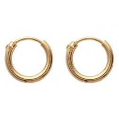 Boucles d'oreilles créoles 12 mm en plaqué or, fil 2 mm, Colibri