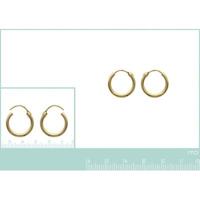 Créoles femme, diamètre 14 mm en plaqué or, fil 2 mm, Colibri