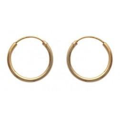 Boucles d'oreilles créoles 20 mm en plaqué or, fil 2 mm, Colibri