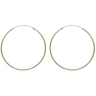 Anneau créoles 80 mm en plaqué or, fil 2 mm pour femme, Colibri