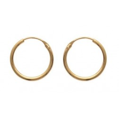 Anneaux créoles pour femme 18 mm en plaqué or - fil 1,5 mm - Lido