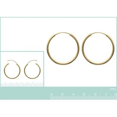 Boucles d'oreilles créoles 30 mm en plaqué or, fil 2 mm, Colibri
