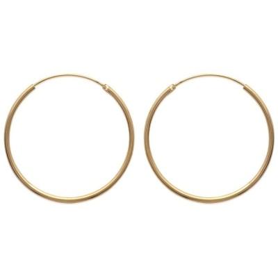 Créoles 40 mm en plaqué or, fil 2 mm - Colibri