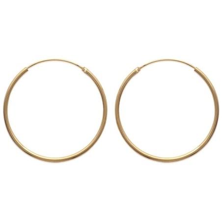 Boucles d'oreilles créoles 40 mm en plaqué or, fil 2 mm, Colibri