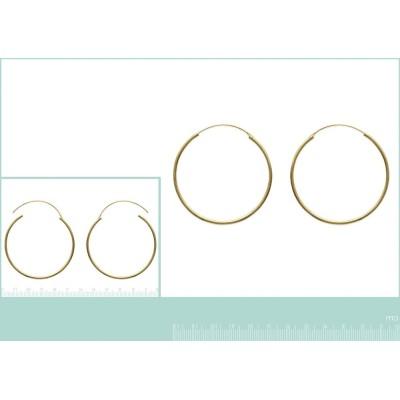 Boucles d'oreilles créoles 50 mm en plaqué or, fil 2 mm, Colibri