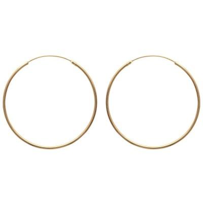 Créoles 60 mm en plaqué or, fil 2 mm - Colibri