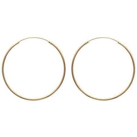 Boucles d'oreilles créoles 60 mm en plaqué or, fil 2 mm, Colibri