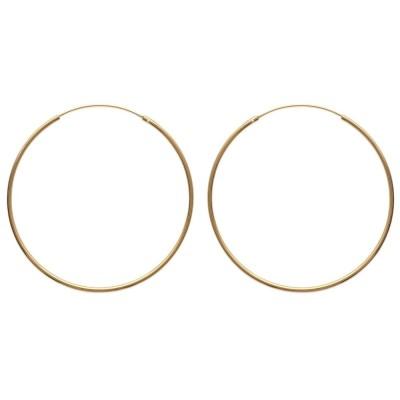 Créoles 70 mm en plaqué or, fil 2 mm - Colibri