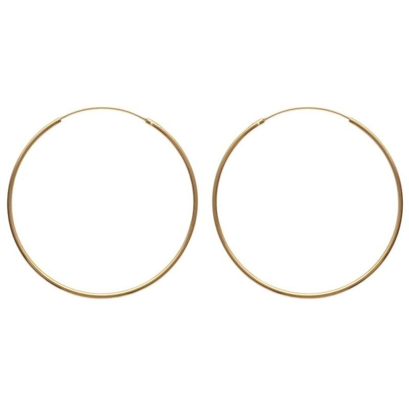 Boucles d'oreilles créoles 70 mm en plaqué or, fil 2 mm, Colibri