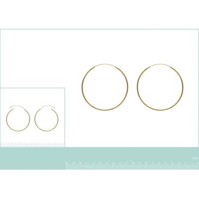 Créoles femme, diamètre 70 mm en plaqué or, fil 2 mm, Colibri