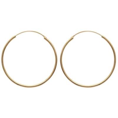 Créoles 50 mm en plaqué or, fil 2 mm - Colibri