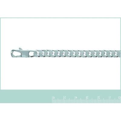 Large Bracelet maille gourmette diamantée en argent 925 6 mm