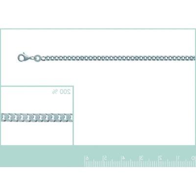 Chaîne collier en mailles gourmette diamantée en argent 2,5 mm