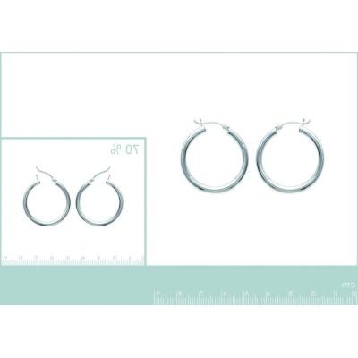 Boucles d'oreilles créoles 30 mm en argent 925, fil 3 mm, Solo