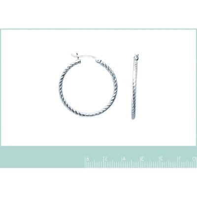 Boucles créoles torsadées 30 mm en argent 925, fil 2 mm, Tchin