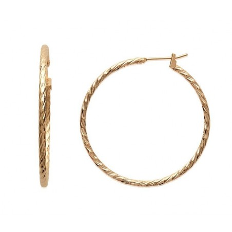 Créoles torsadées diamètre 40 mm en plaqué or, fil 2 mm, Tchin