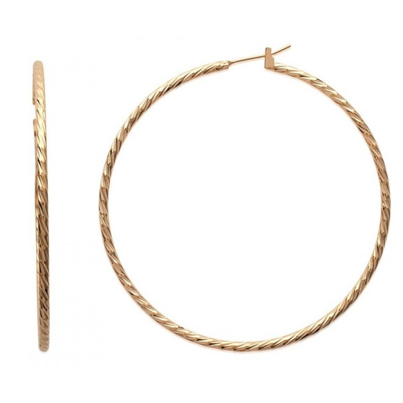 Créoles plaqué or torsadées 60 mm, fil 2 mm pour femme - Tchin - Lyn&Or Bijoux
