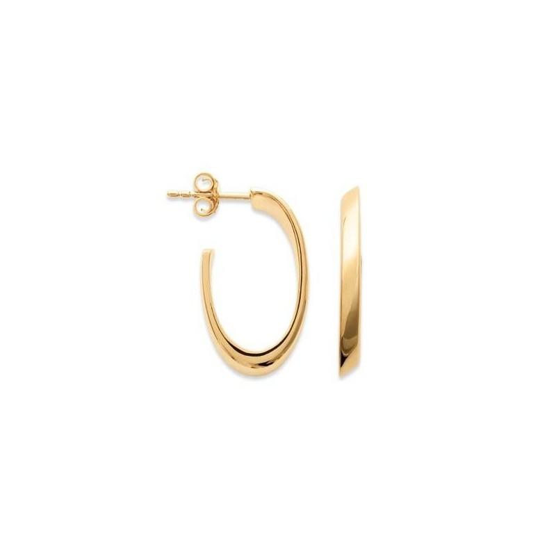 Créoles en plaqué or ovales 22 mm pour femme - Lymbo - Lyn&Or Bijoux