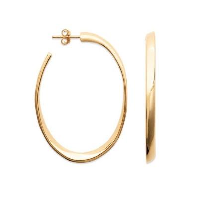 Anneau créoles en plaqué or ovales 70 mm pour femme - Lymbo