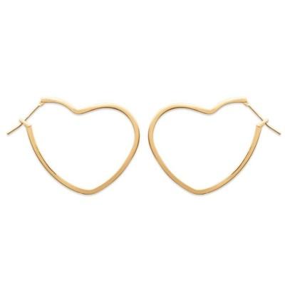 Anneau créoles coeur 25 mm en plaqué or pour femme, Lova