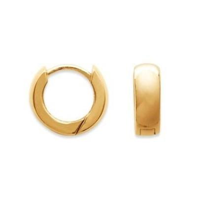 Boucles d'oreilles créoles 14 mm en plaqué or, fil 5 mm, Malo