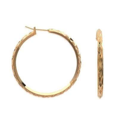 Anneau créoles diamantées, 40 mm en plaqué or pour femme, Paola