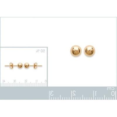 Perles d'en plaqué or boucles d'oreilles puce, diamètre 5 mm