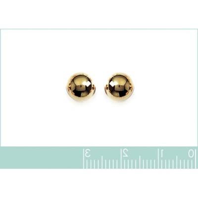 Perles d'en plaqué or boucles d'oreilles puce, diamètre 8 mm
