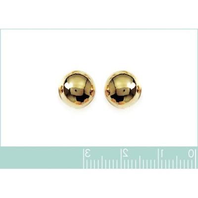 Grandes Perles 10 mm en plaqué or boucles d'oreilles puce