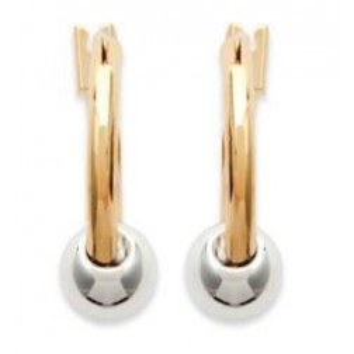 Créoles avec perles en plaqué or bicolore pour femme - Perle - Lyn&Or Bijoux