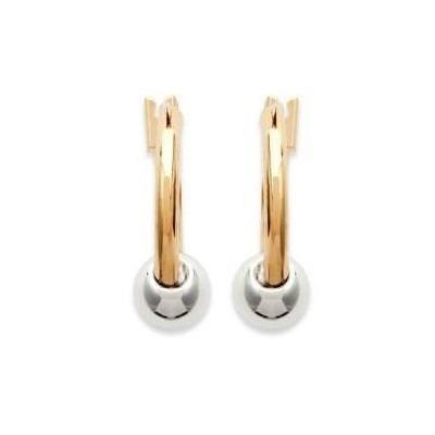 Boucles d'oreille créoles 14 mm en plaqué or bicolore, Perle