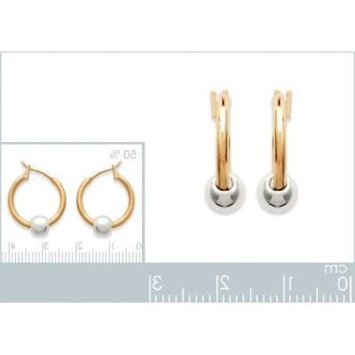 créoles avec perles en plaqué or deux tons, diamètre 14mm, bijoux femme
