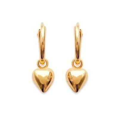Créoles avec breloque coeur en plaqué or 12 mm - Lyn&Or Bijoux