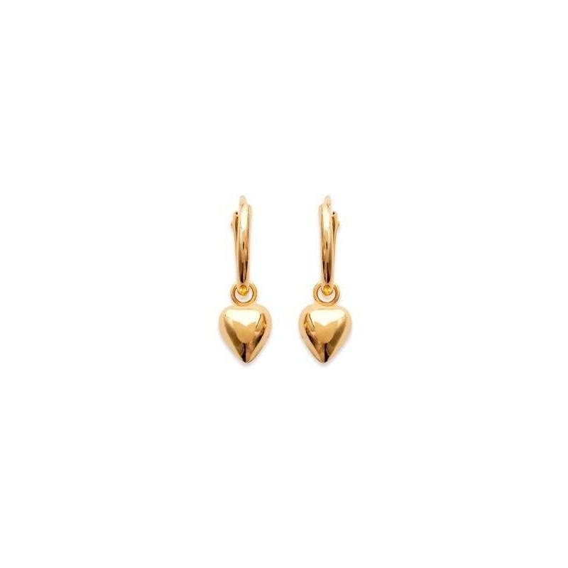 Boucles d'oreille créoles 12 mm en plaqué or, Coeur