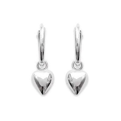 Anneaux créoles pour femme 12 mm en argent - Coeur