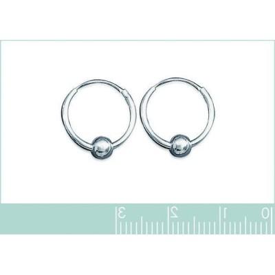 Boucles d'oreille créoles 14 mm en argent 925 millièmes, Perle