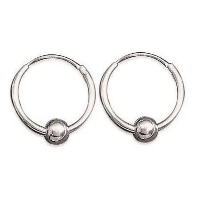 Anneaux créoles pour femme 14 mm en argent - Perle