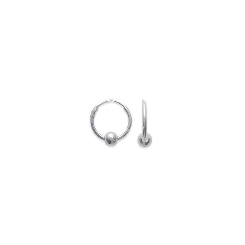 Créoles 12 mm en argent pour femme - Perle - Lyn&Or Bijoux