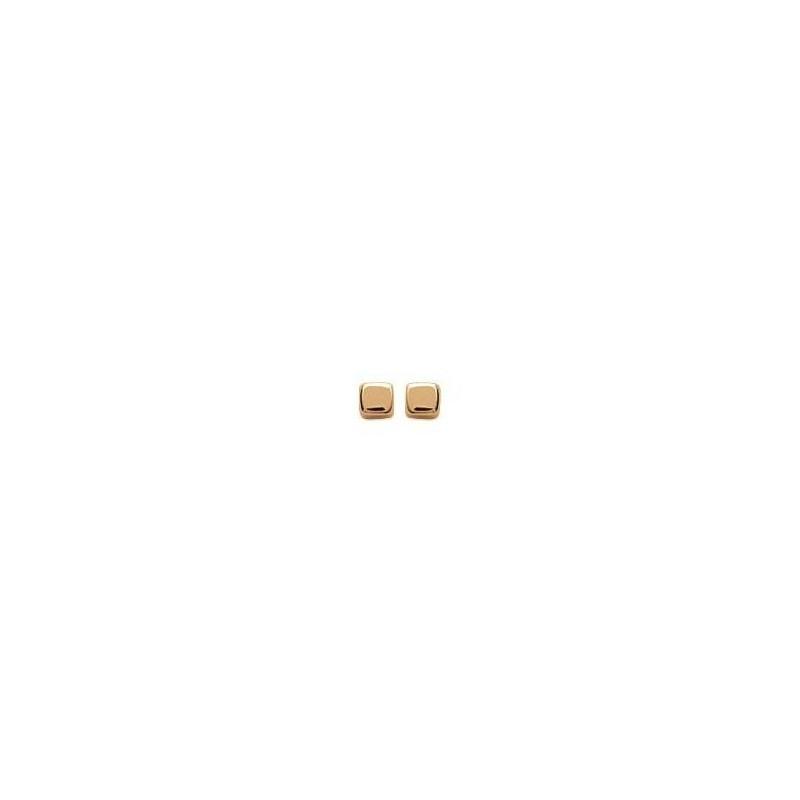 Boucles d'oreille enfant & femme en plaqué or - Cube 3 mm - Lyn&Or Bijoux
