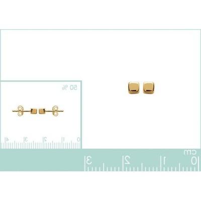 Boucles d'oreilles en plaqué or pour femme, Petit cube de 3 mm