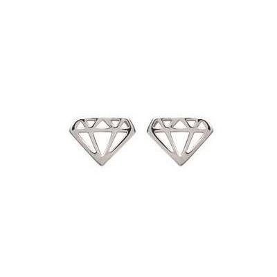 Boucles d'oreilles en argent rhodié et motif en forme de Diamant