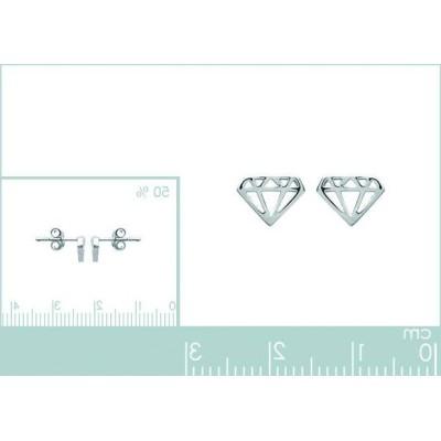 Boucles d'oreilles pour femme en argent 925 rhodié, Diamant