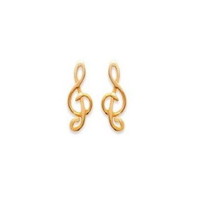 Boucles d'oreilles Clé de Sol en plaqué or pour femme