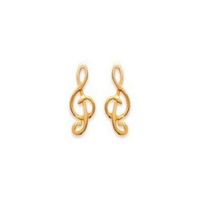 Boucles d'oreille enfant & femme en plaqué or - Clé-de-Sol - Lyn&Or Bijoux