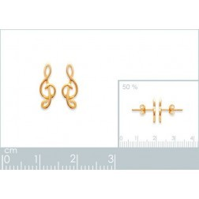 Boucles d'oreilles en plaqué or pour femme, Clé de Sol